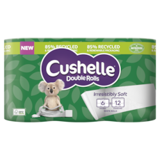 Cushelle Double Rolls in 85% Recycled and Renewable Paper Packaging