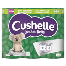 Cushelle Double Rolls in 85% Recycled and Renewable Packaging