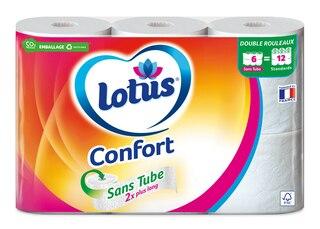 Lotus Papier toilette Confort Sans tubeRose ou Blanc