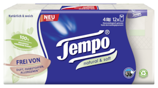 Tempo Natural & Soft zakdoekjes