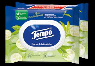 """Tempo feuchte Toilettentücher """"Mein Verwöhnmoment - Grüner Tee & Gurke"""""""